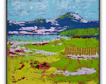 12x12 - Original Abstract Landscape Painting - Acrylic on Canvas Paper Mounted on Wood - Green Yellow Blue Pink