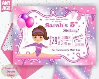 GYMNASTIC Birthday Invitation / Gymnastics Invitation / Gymnastic Invitation / Party Invite / Gymnastic Invitations / Girl Pink Purple BDG22