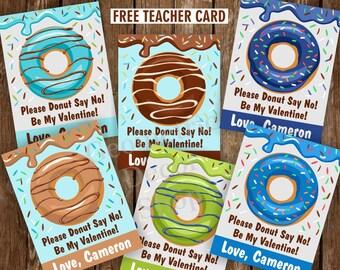 Donuts / Valentine / Sweet / Valentines / Card / Blue / Green / Teal / Brown / Valentine's Day / Donut / Tags / teacher / Kids /VCard60