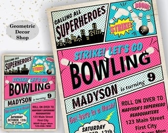 Bowling Birthday Invitation Superhero Bowling Birthday Party Invite Superheroes Girl Bowling Invitations Strike Pink Blue Purple Yellow DBW8