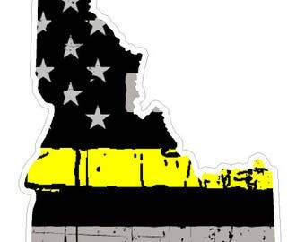Idaho State (E13) Thin Yellow Line Dispatch Vinyl Decal Sticker Car/Truck Laptop/Netbook Window