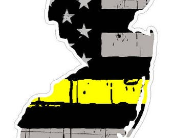 New Jersey State (E31) Thin Yellow Line Dispatch Vinyl Decal Sticker Car/Truck Laptop/Netbook Window