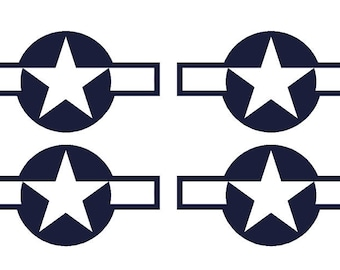 "Set of 4 Remote Control (RC3) Blue White Stars and Bar 5 1/2"" RC Airplane Sticker Decal"