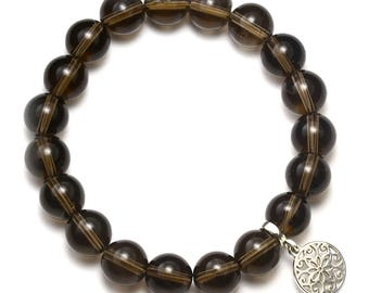 Smoky Quartz Beaded Bracelet with Sterling Silver Charm, Unique only 1 piece available! , color brown, #45523