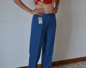 Blue cigarette pants vintage anni ' 80-80 's vintage blue pants