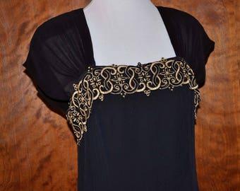 Black Vintage Formal Gown, Carole Little Full Length Evening Dress, Size 12, Never Worn Black Gown, Black Evening Gown, Black and Gold Gown