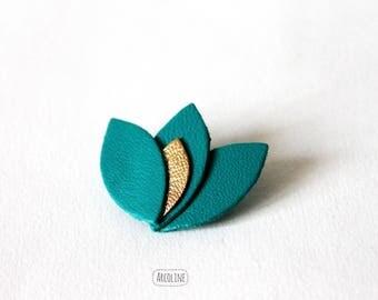 Lotus petals gold emerald green leather brooch