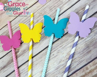 12 Butterfly Straws