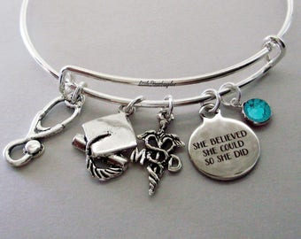"""Personalized MD ( Medical DR / / Graduation """"She Believed She Could So She Did"""" Bangle W/ Birthstone - Initial  College Gifts / Under  30 C1"""