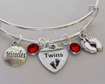 TWINS Heart Charm /  Baby Feet  / Miracles charm Bangle  W/ Birthstones / New Mothers / Gift For Her Usa TW1
