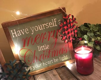 "Christmas wall decor ""Have yourself a merry little Christmas"" - Handmade sign"