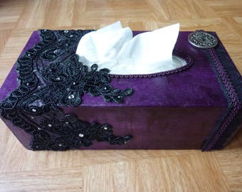 Box with purple handkerchiefs, Black Lace and rhinestones