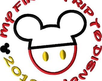 2018 My First Trip to Disney Mickey 2018 MACHINE Embroidery Applique Design Available in 5 Sizes