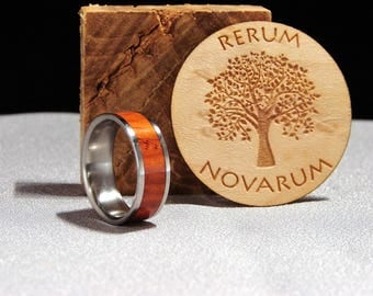 Cocobolo and Titanium ring, Exotic hardwood inlay ring, Wood and metal ring, Cocobolo wood inlay ring
