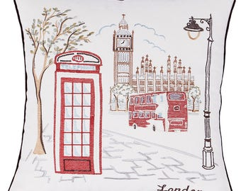 """London City Embroidered Pillow/Cushion Cover Decorative Pillow Cover Wedding Gifts,18""""x18"""""""