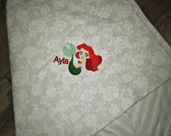 Little Mermaid Baby Receiving Blanket