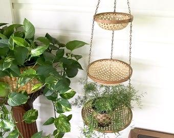 Vintage Woven Tiered Hanging Baskets • Bamboo Rattan Basket Planters • Bohemian Decor