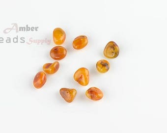Beads supplies, Amber beads, Loose beads for jewelry, Baltic amber, Amber pieces, Chips style beads, 10 pieces, MO354