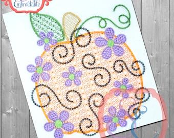 Daisy Swirl MOTIF PUMPKIN Embroidery Design For Machine Embroidery