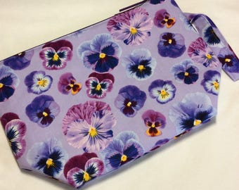 Zippered project bag - Pansies