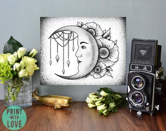 Tattoo Flash Style Crescent Moon with Woman's Face with Flowers in Black and Gray Art Print