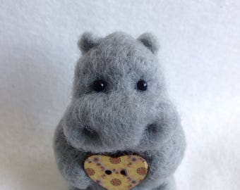 Hippo Holding A love Heart Button Gift
