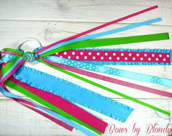 Handmade polymer clay Summer Fish Double Ruffle ponytail streamer!