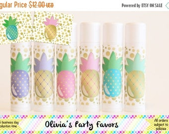 SALE 6 Pineapple Lip Balm Favors - Pineapple Party - Pineapple Theme = Pineapple Gift - Lip Balm