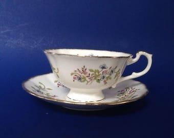 Royal Victorian Dainty Florals Teacup and Saucer, Blue Pink Flowers Tea Cup Set, Bone China England, Widemouth Teacup and Saucer