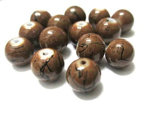 10 Brown, black round glass beads painted 8mm