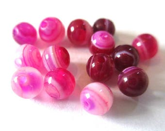 20 striped agate beads shades of pink 4mm