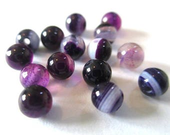 20 4mm purple striped agate beads