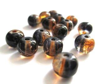 20 drawbench beads black orange and white 6mm round glass