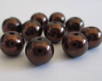 10 Brown pearl beads, painted glass 8mm (D-21)