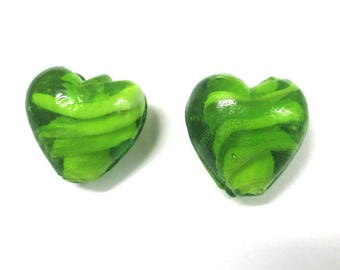2 beads 18mm green colored glass heart