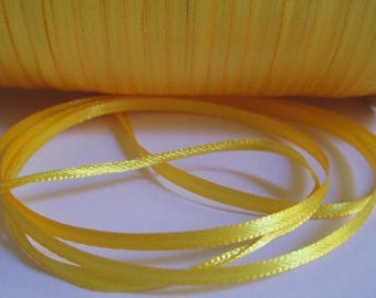5 m yellow 3mm satin ribbon