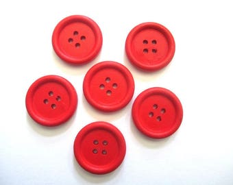 6 23mm red 4-hole wooden buttons