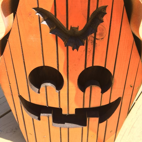 Large Halloween Pumpkin Birdhouse with Tin Roof