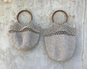 ASH GREY RAFFIA Bag. Hand knitted natural straw bag. Two sizes available.