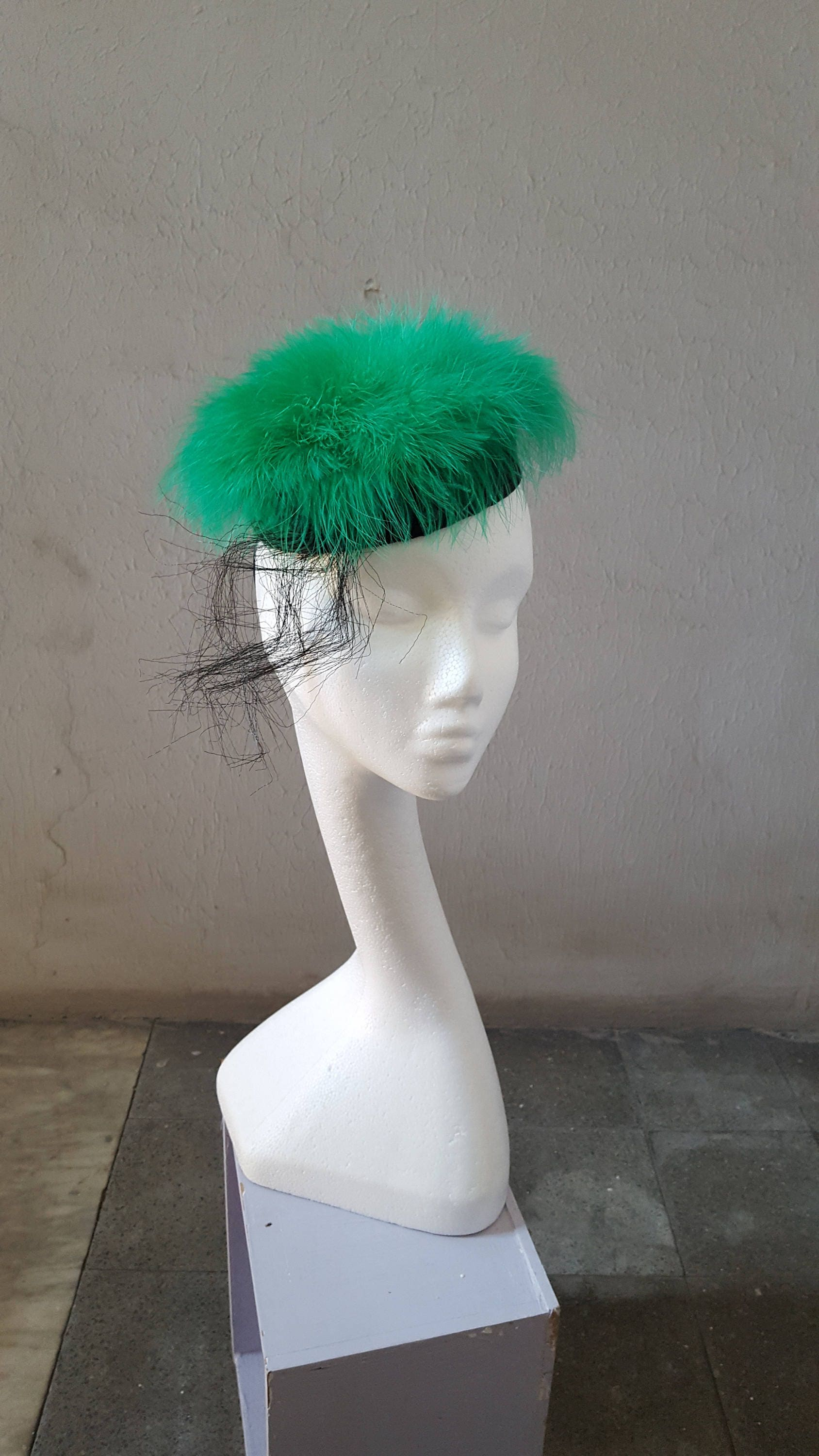 Green Black Pillbox Hat Green Fascinator St Patrick Day