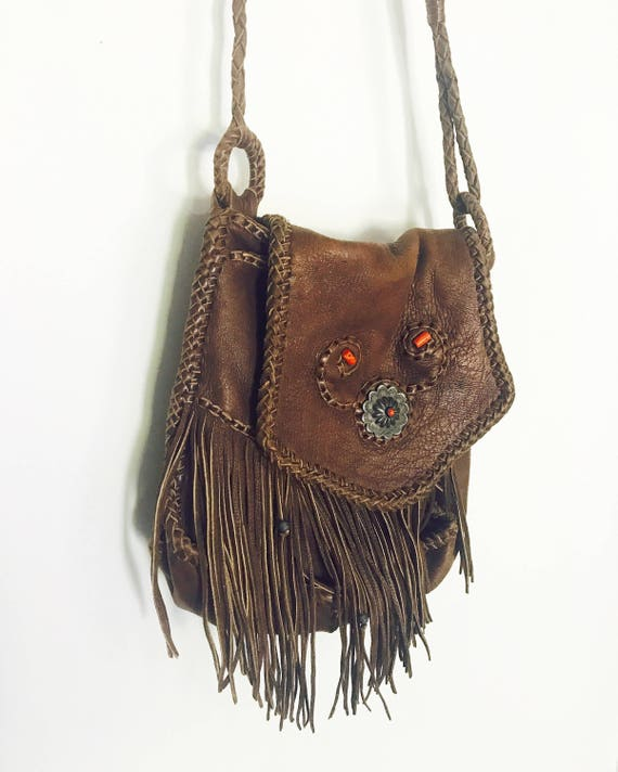 70s Elk Native American Fringe Bag