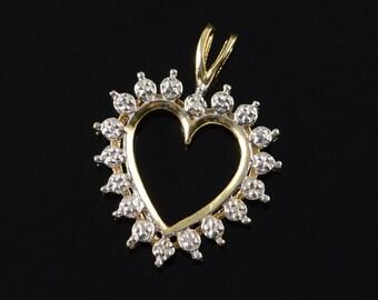 10k Diamond Heart Cut Out Pendant Gold