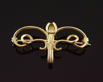10k Hanging Scroll Pendant Pin/Brooch Gold