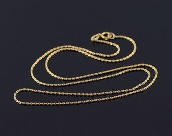 """14k 0.8mm Fancy Link Chain Necklace Gold 18.25"""""""