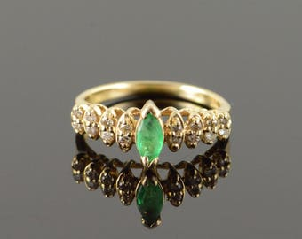 10k 0.33 CTW Emerald Diamond Marquise Tiered Ring Gold