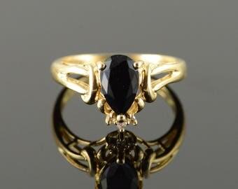 14k 1.52 CTW Sapphire Diamond Tear Drop Ring Gold