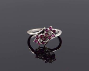 14k 0.40 CTW Ruby Diamond Dual Flower Ring Gold