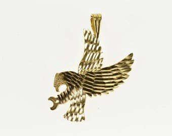 14k Diamond Cut Eagle Bird Textured Charm/Pendant Gold