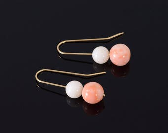 14k Round Ball Beaded Hook Earrings Gold