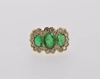 14k Victorian 3.11 Ctw Emerald Diamond  Halo Ring Gold